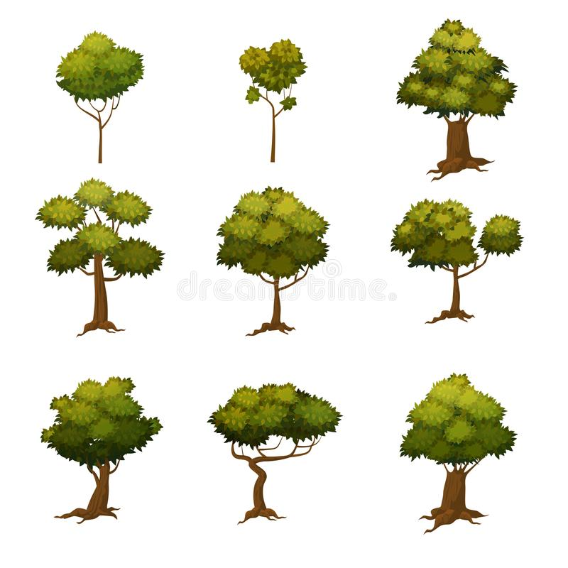 Set of different cartoon style trees, illustration stock illustration