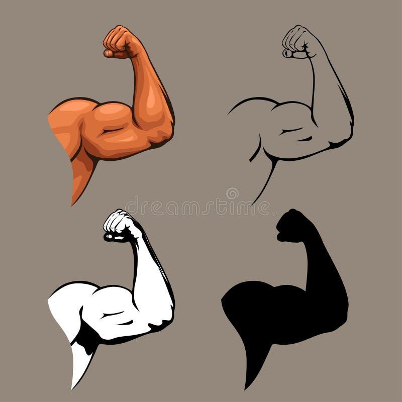Human hands biceps design set royalty free illustration