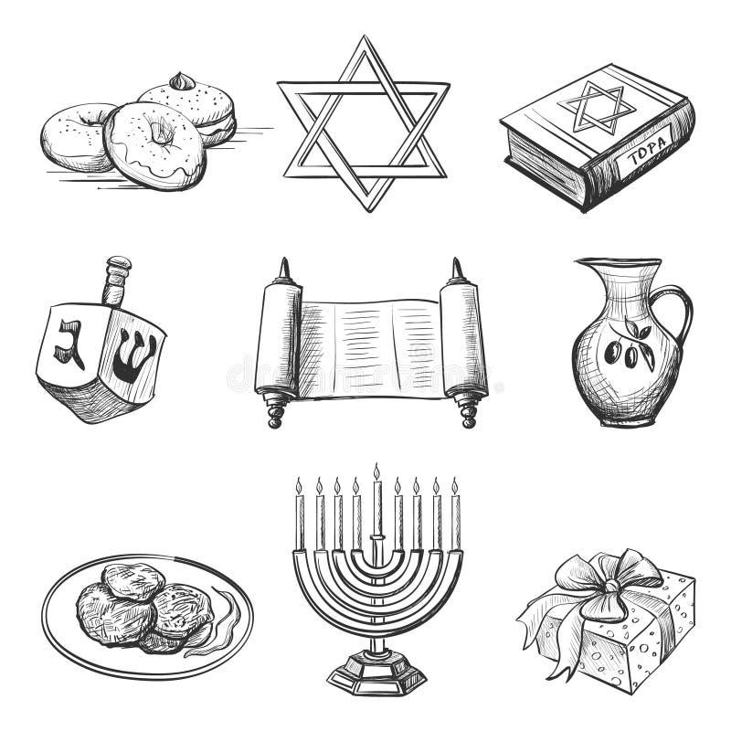 Illustration set of element for hanukkah. Illustration of set of element for hanukkah with candlestick, star of David, torah, menorah, dreidel and gifts stock illustration