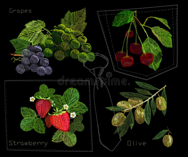 Illustration of Set embroidery, needlework with Olive branch, bunch of grapes, strawberry and cherries with a green leaf. Vector illustration of Set embroidery stock illustration