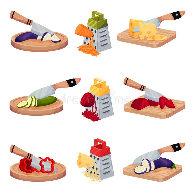 Set Of Images With Vegetables And Cheese Chopped With A Knife And Grated. Vector Illustrations On A White Background. Illustration set with fresh ripe vegetables royalty free illustration