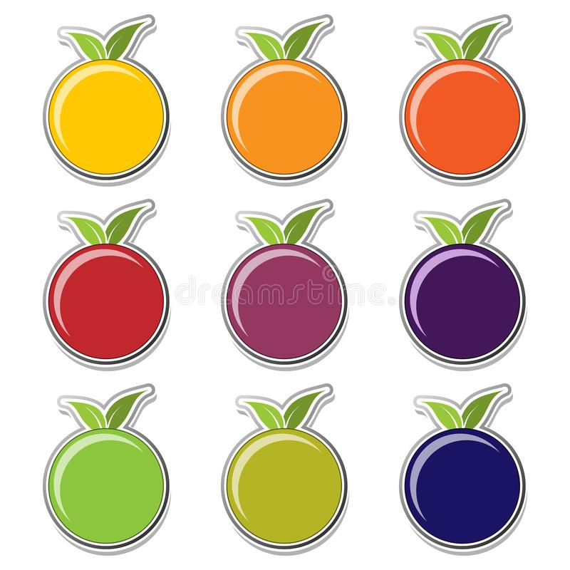 Fruit stickers- icon set royalty free illustration