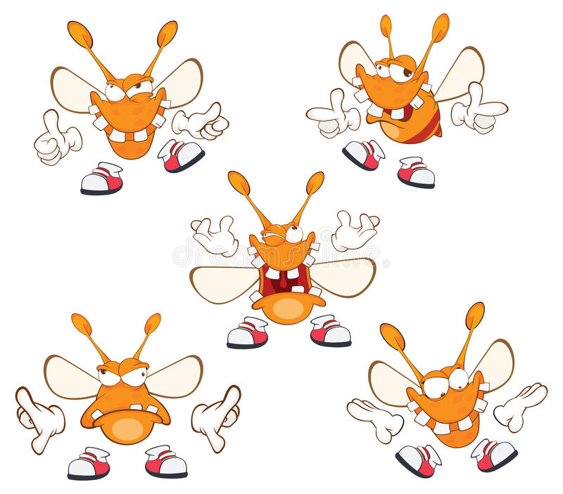 Illustration of a set of Funny Clothes Moth . Cartoon Character royalty free illustration