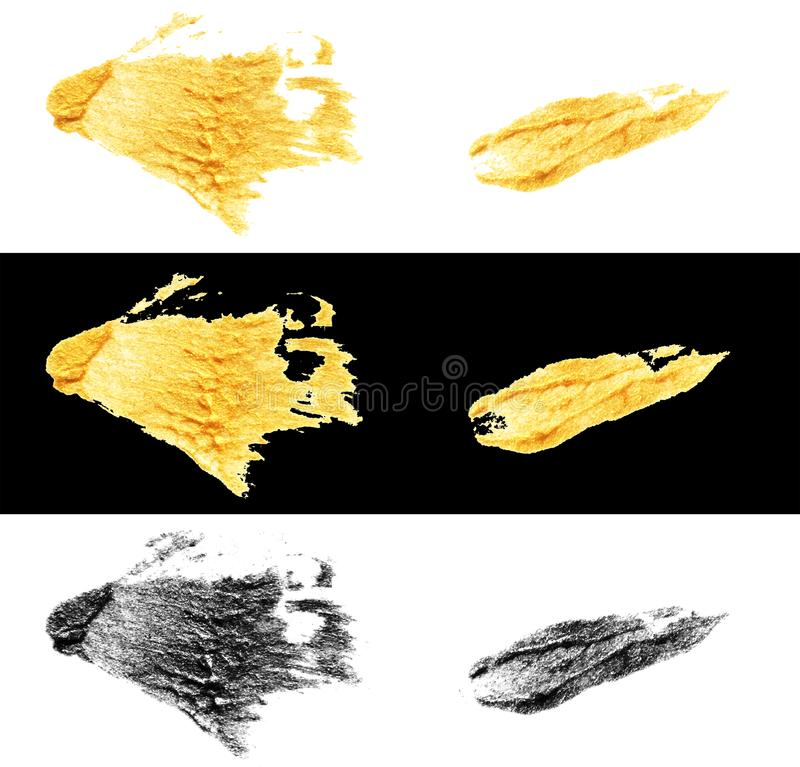 Hand drawn gold and black colors paint smear stain stroke. Illustration set of hand drawn gold and black colors paint smear stain stroke isolated on white and royalty free illustration