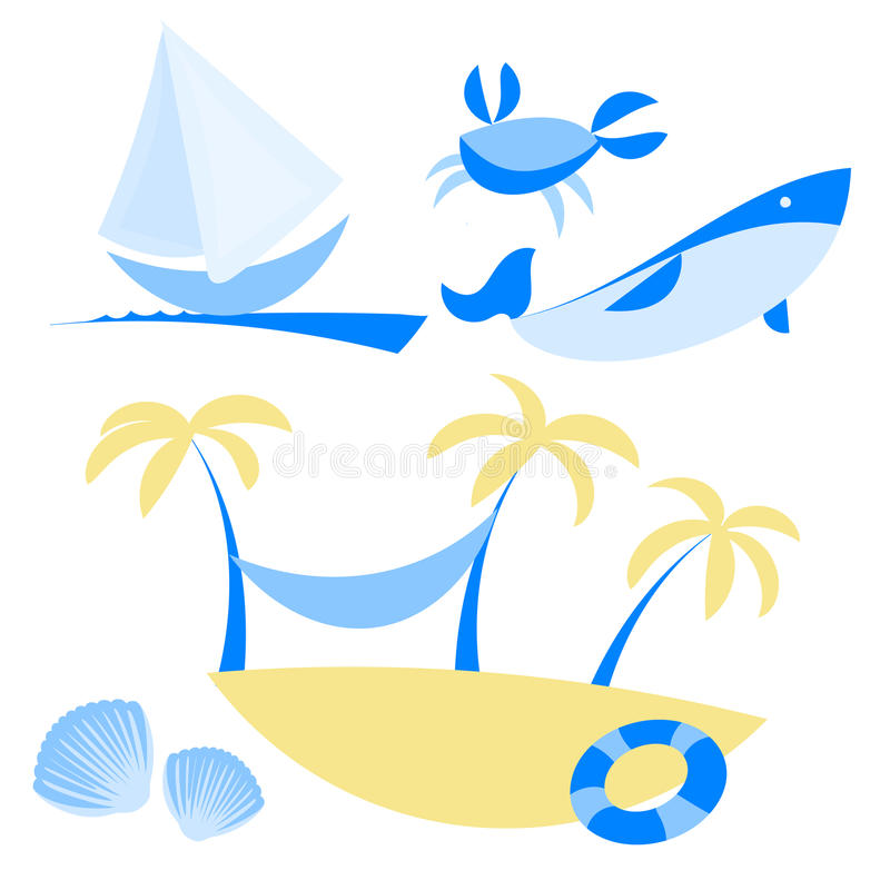 Download Illustration Set Of Icons With Vocation And Sea Stock Vector - Image: 42376088