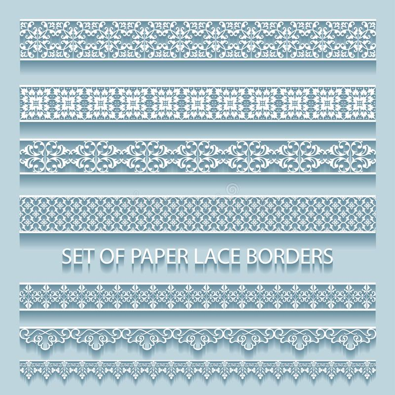 set of paper volumetric lace borders. Collection of decorative elements royalty free illustration