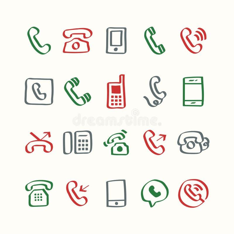Illustration set of phone icons royalty free illustration