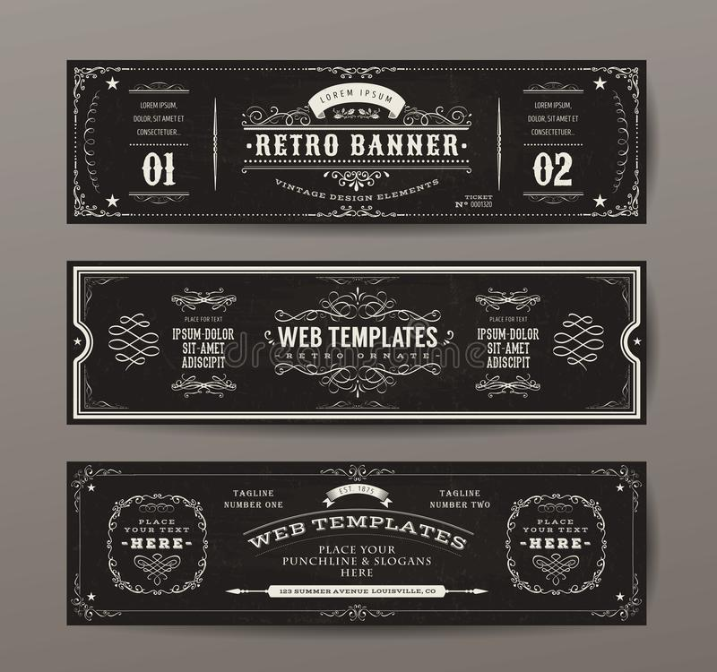 Vintage Web Banners Templates Set Stock Vector - Illustration of ...