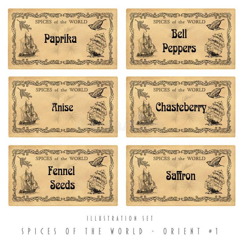 Free Illustration Set Spice Labels, Orient 1 Stock Photo - 28913810