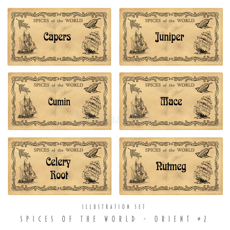 Free Illustration Set Spice Labels, Orient 2 Stock Image - 28913601
