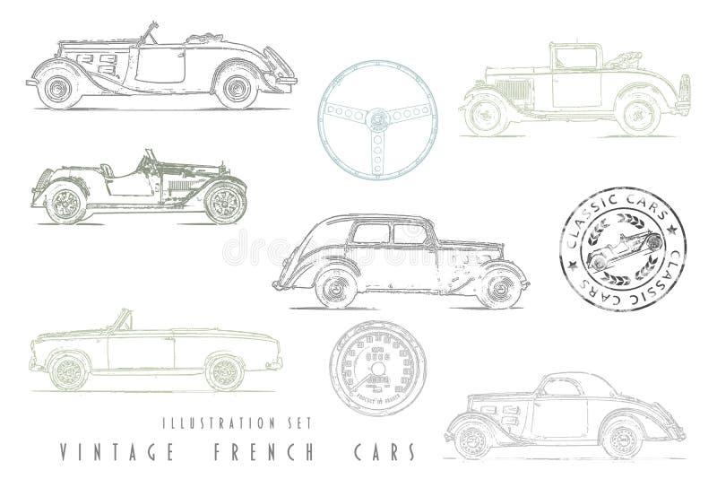 Illustration Set Vintage French cars. With stamp design stock illustration