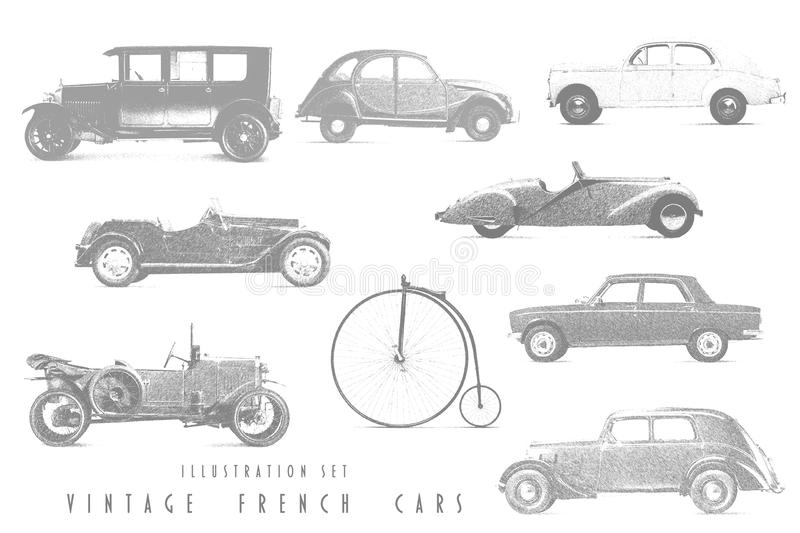 Illustration Set Vintage French cars. With graphic pen stock illustration