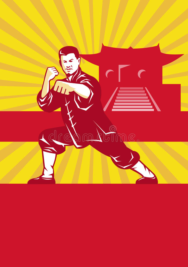 Shaolin Kung Fu Martial Arts Master Retro royalty free illustration
