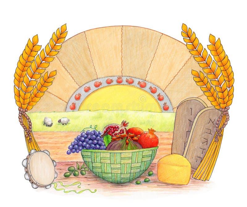 Download Shavuot stock illustration. Image of pomegranate, basket - 29796756