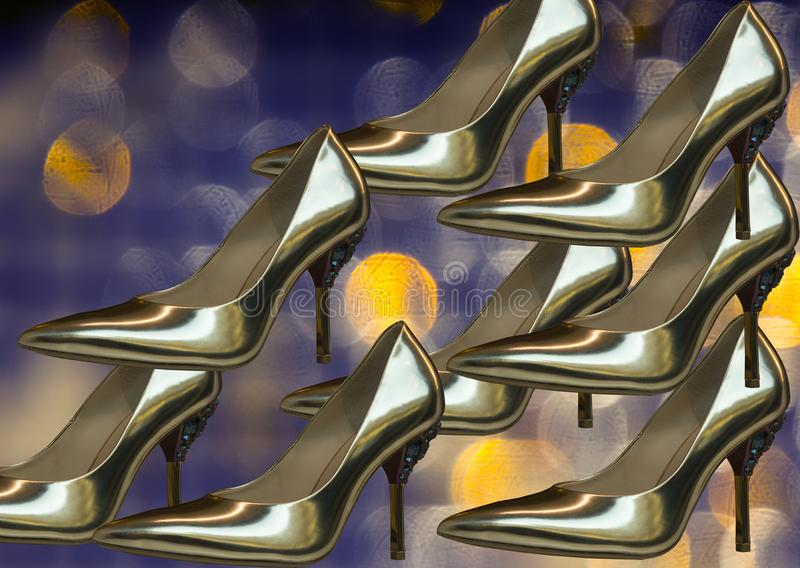 Illustration of shiny shoes as symbol of elegance royalty free stock images