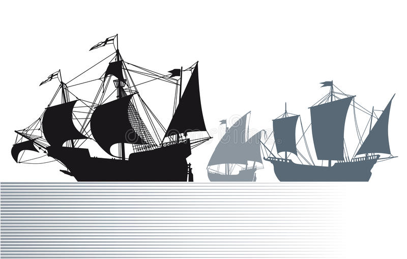 Ships of Christopher Columbus vector illustration