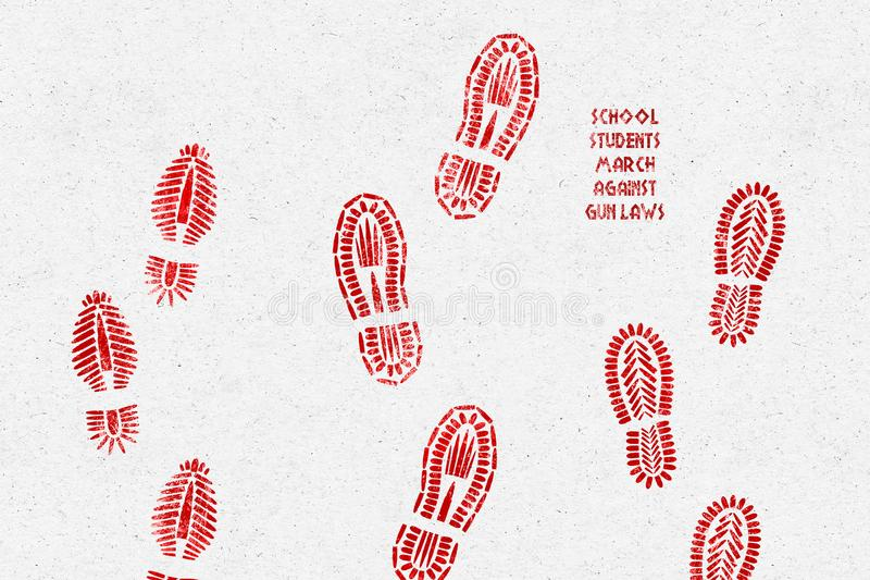 UNITED STATES, 20 February 2018 - Illustration idea of school students marching against gun laws. Illustration of shoe prints marching made from bullets
