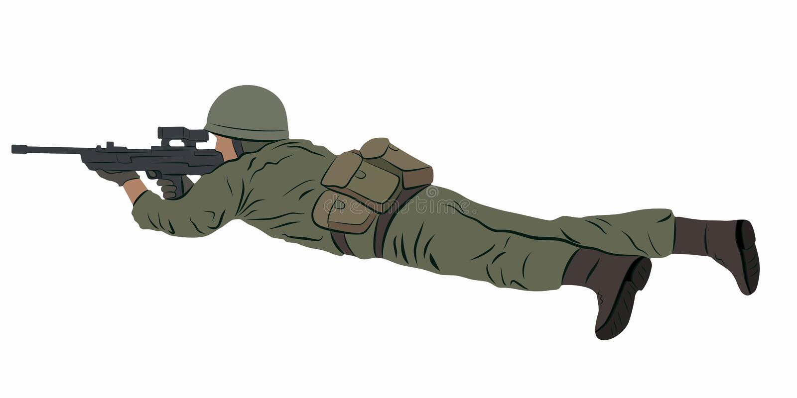 Illustration of a shooting soldier, vector draw. Illustration of a shooting soldier, colored drawing, white background royalty free illustration