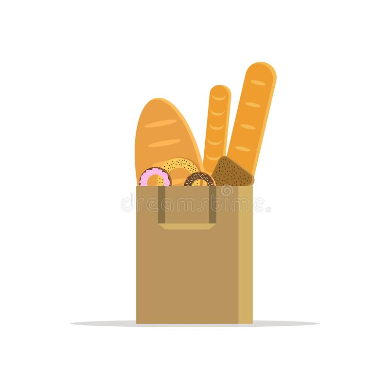 Illustration of shopping bag with bread, donut and bagel on white background. llustration For icon, web, shop and card stock illustration