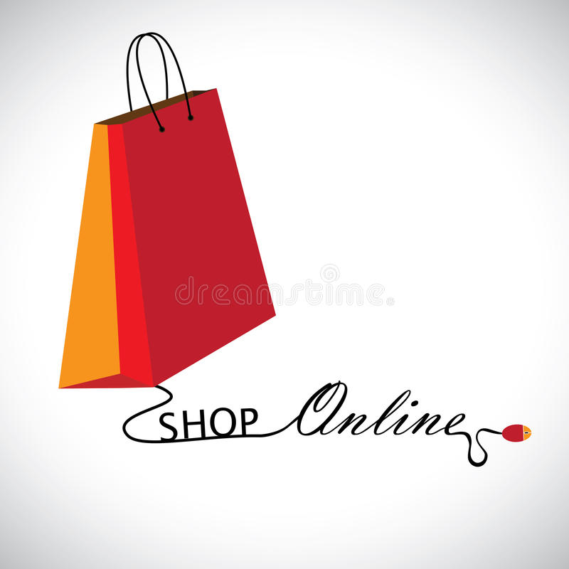 Illustration of shopping online using a technology. The graphic contains a shopping bag symbol linked to a mouse with the wire forming words shop & online vector illustration