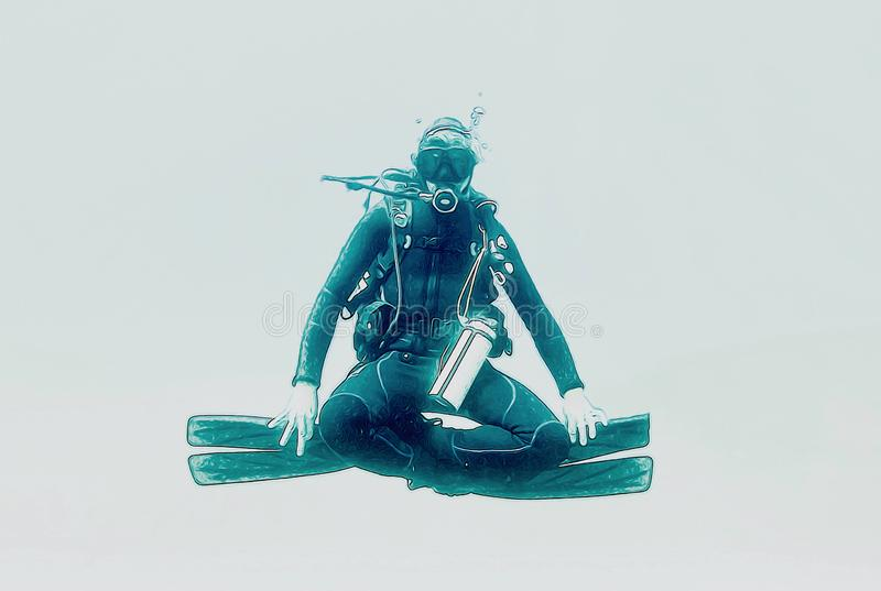 An illustration shot of a scuba diver posing as a Buddha. An illustration shot of a scuba diver enjoying the tranquility and calmness posing as a buddha vector illustration