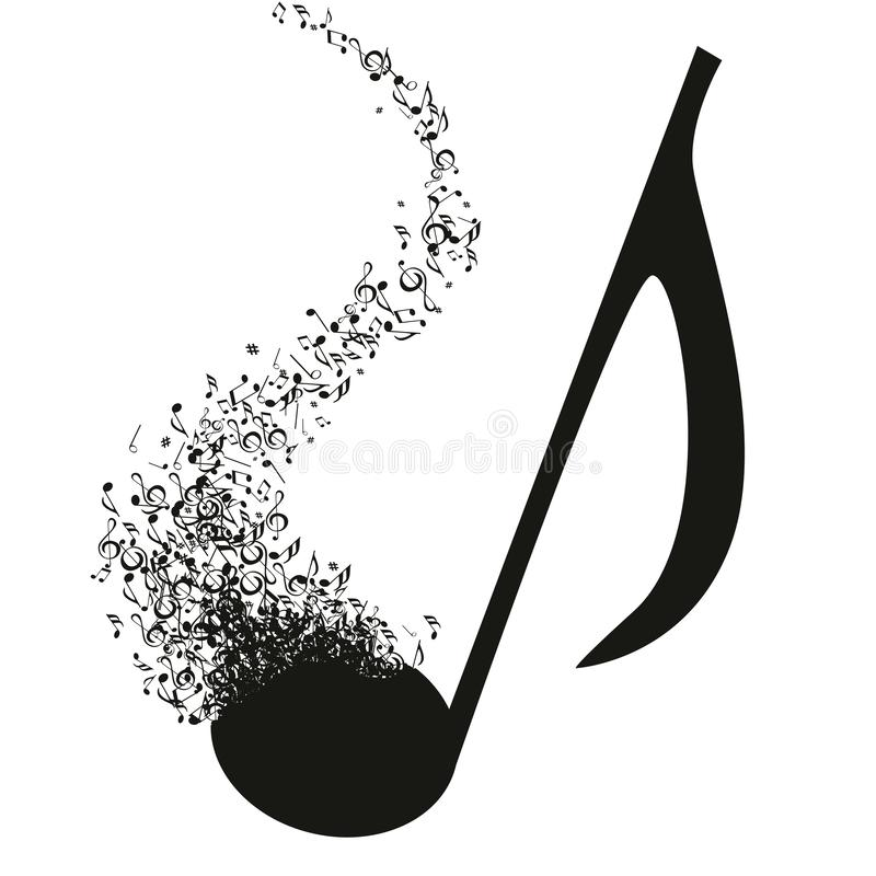 Illustration showing a key being ground that turns into musical notes. Concept of musical creation with a treble clef that turns into a multitude of musical stock illustration
