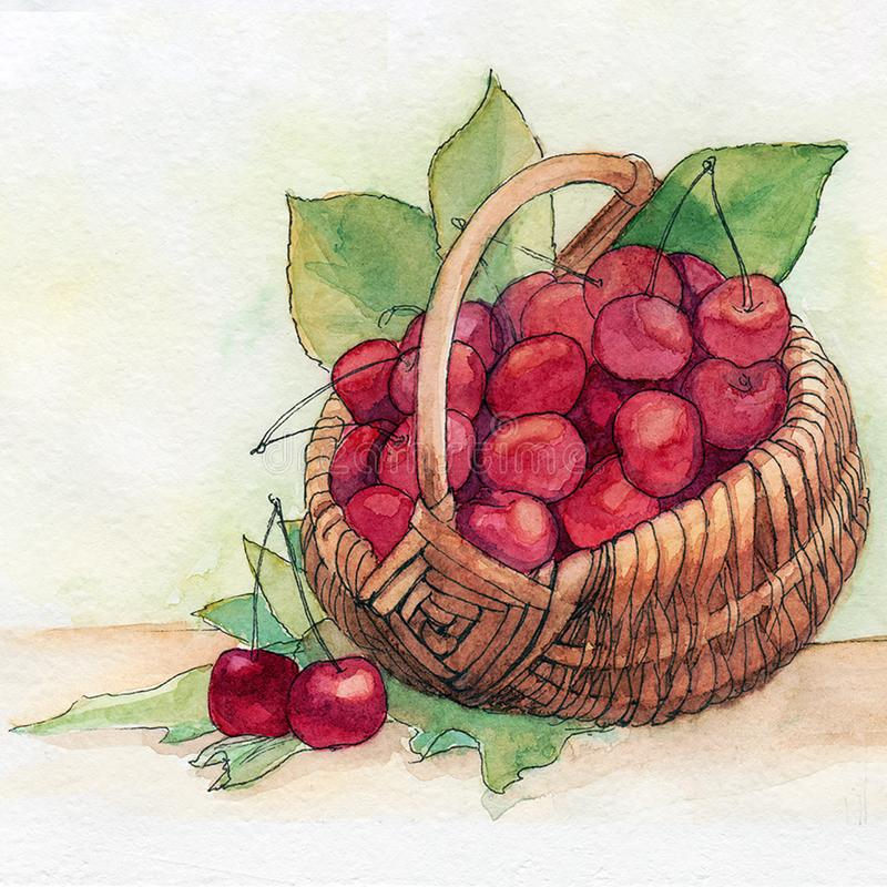 Cherry, fruit basket, fresh breakfast, meal, healthy vector illustration