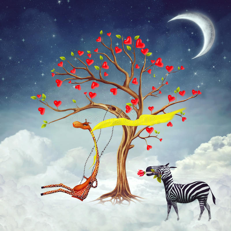 The illustration shows romantic relations. Between a giraffe and a zebra vector illustration