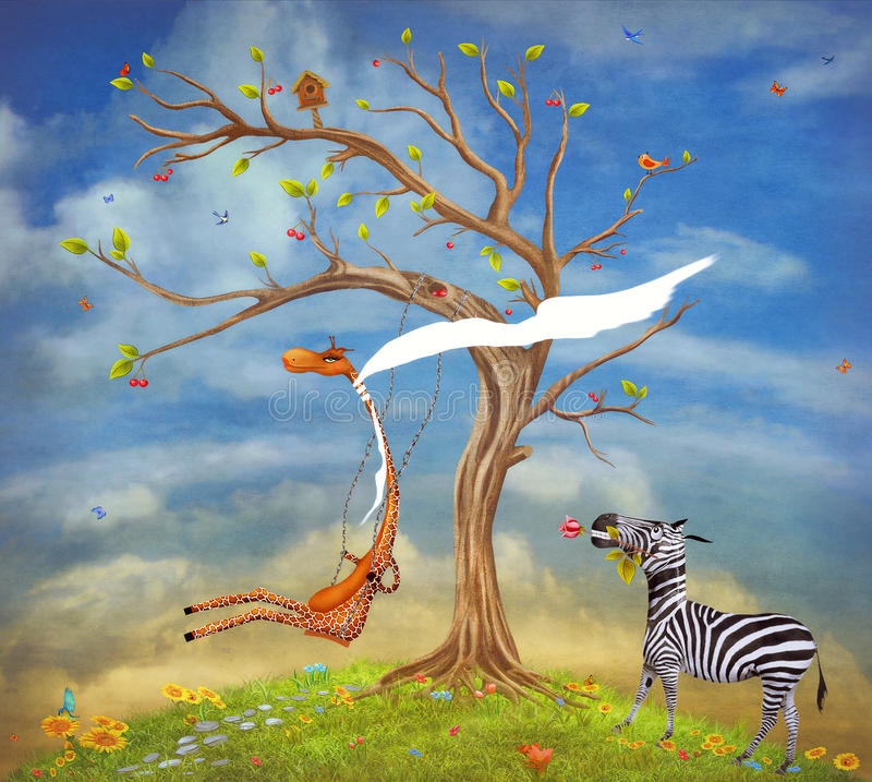 Illustration shows romantic relations between a giraffe and. The illustration shows romantic relations between a giraffe and a zebra vector illustration