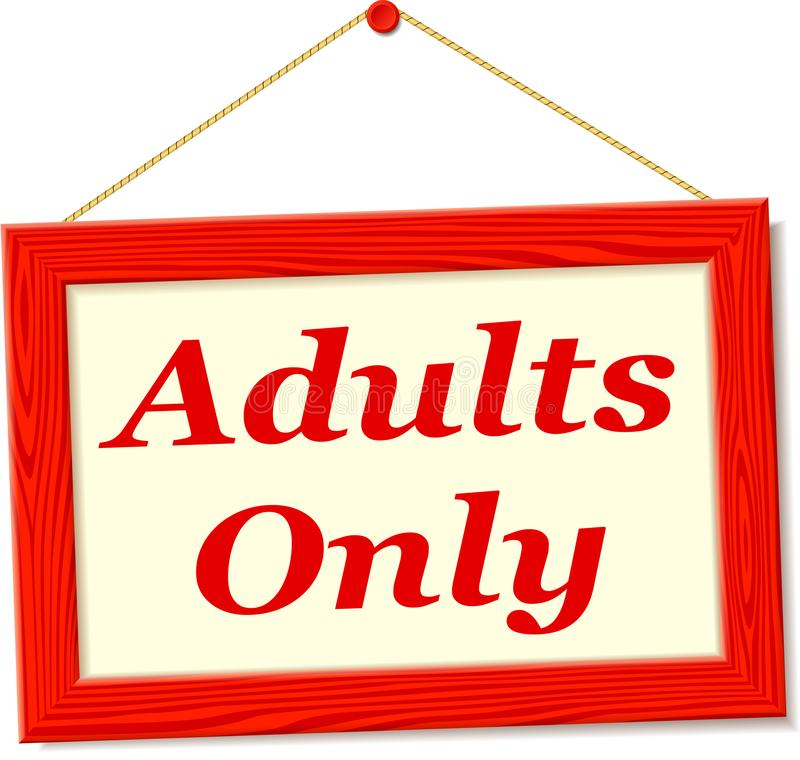 Signboard with adults only text. Illustration of signboard with adults only text royalty free illustration