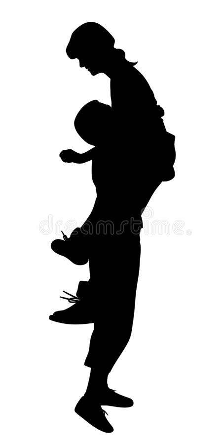 Romantic lift hug. Illustration silhouette of a boyfriend lifting his girlfriend up. Isolated white background. EPS file available vector illustration