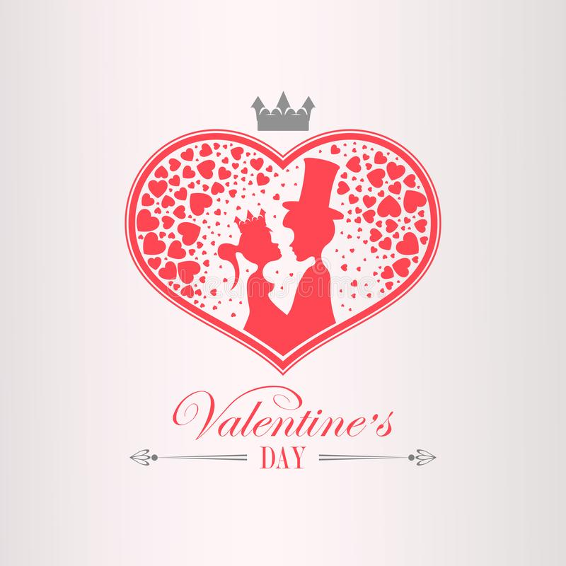 Illustration with a silhouette of a heart, a boy in a hat and a girl wearing a crown, vector illustration