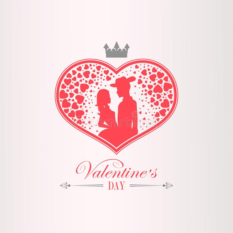 Illustration with a silhouette of a heart, a couple in love, a man in a hat and a girl, royalty free illustration
