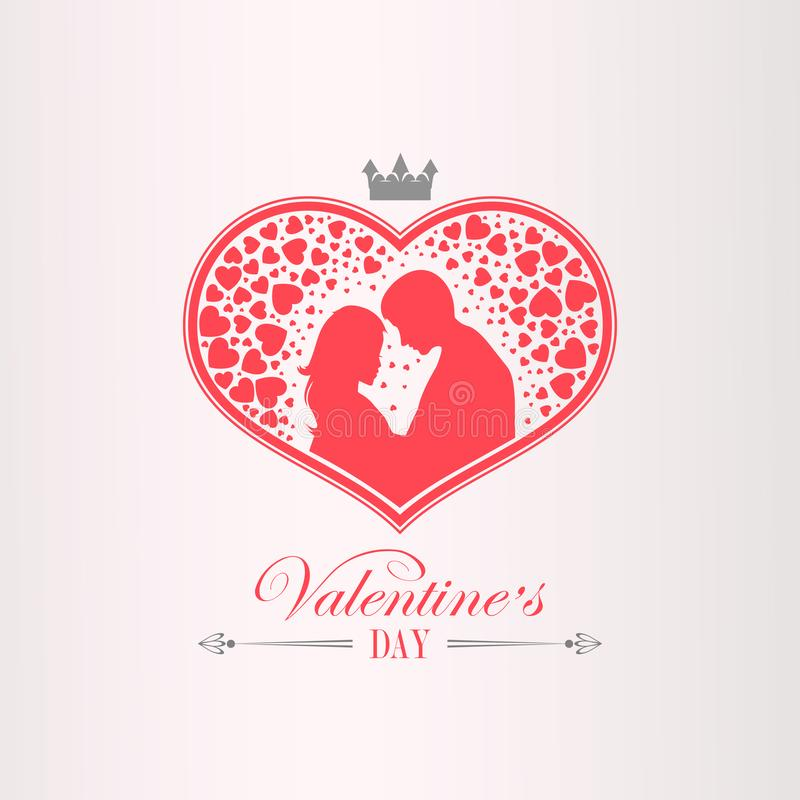 Illustration with a silhouette of a heart with a crown, men and women, stock illustration