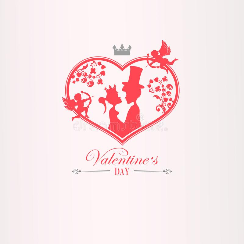 Illustration with a silhouette of a heart with cupids, a boy in a hat and a girl with a crown, royalty free illustration