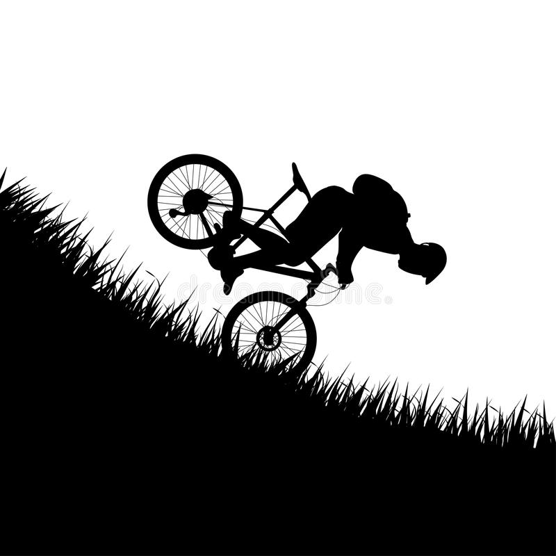 Man falling from bicycle. Illustration of silhouette man falling from the bicycle in mountains stock illustration