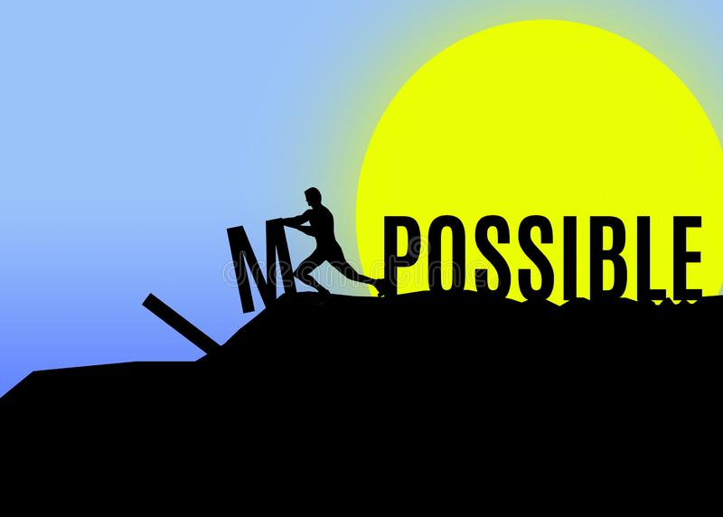 Illustration of a a man turning the word impossible to possible. Illustration of the silhouette of a a man turning word impossible to possible stock illustration