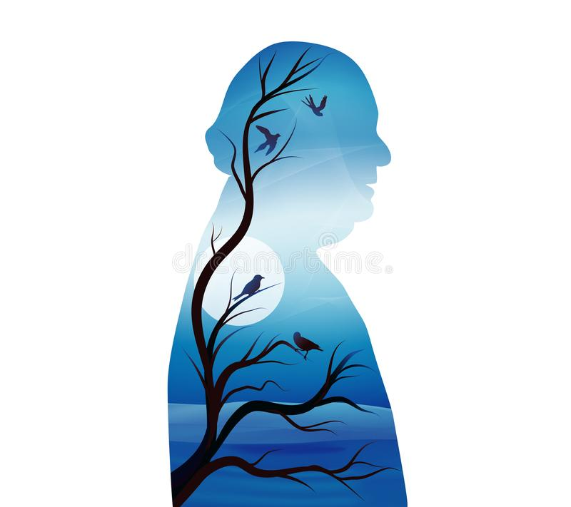 Concept of senile dementia - alzheimer. Silhouette of senior profile with night landscape - moon - branches and birds. Illustration with silhouette of a senior royalty free illustration