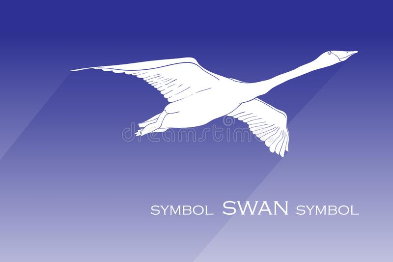 Illustration of silhouette swan vector icon. flying swan with shadow sign on blue background. swan icon for web and app. stock photo