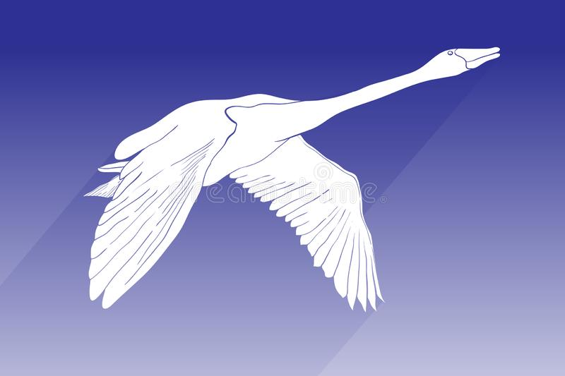 Illustration of silhouette swan vector icon. flying swan with shadow sign on blue background. swan icon for web and app. royalty free stock photography
