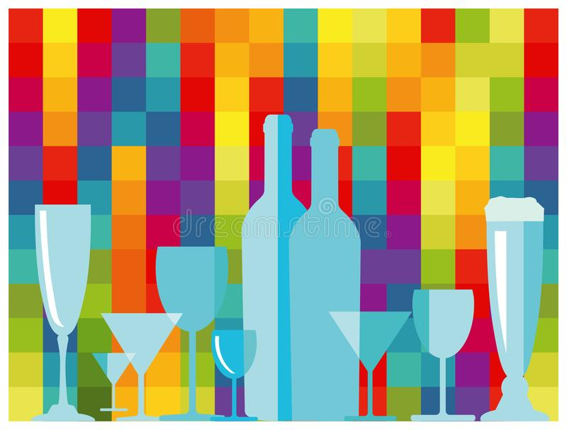 Silhouetted glasses and bottles. An illustration of silhouetted glasses and bottles on a colorful background vector illustration
