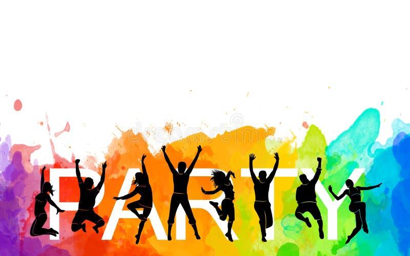 Illustration silhouettes danser groupe coloré de sauts dansants Funk de jazz, hip-hop, house dance Danseuse homme sur blanc illustration stock