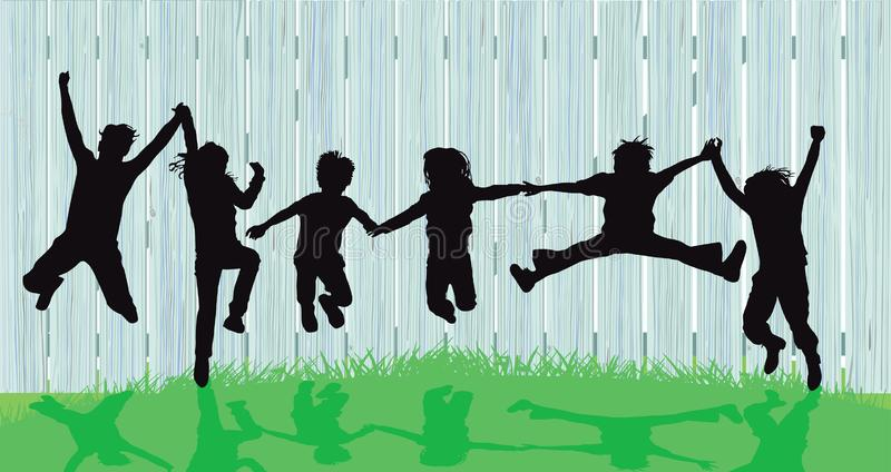 Silhouettes of kids jumping royalty free illustration