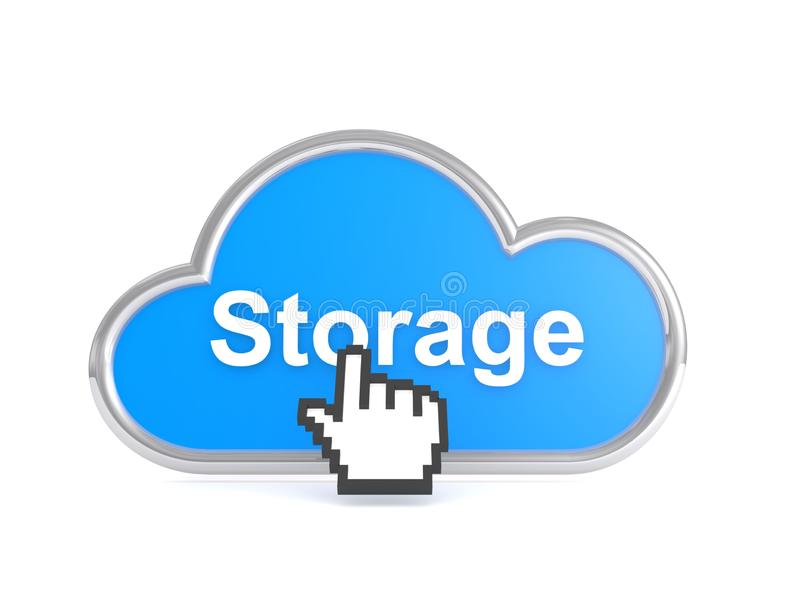Cloud storage concept. Illustration of a silver-bordered blue cloud with the word 'Storage' in white across the cloud and a pixel hand pressing it, isolated on a vector illustration