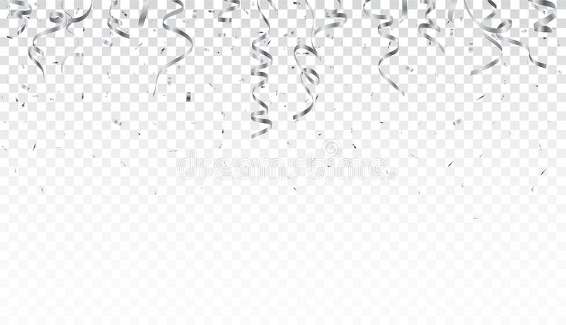 Silver confetti and ribbon isolated on transparent background royalty free illustration