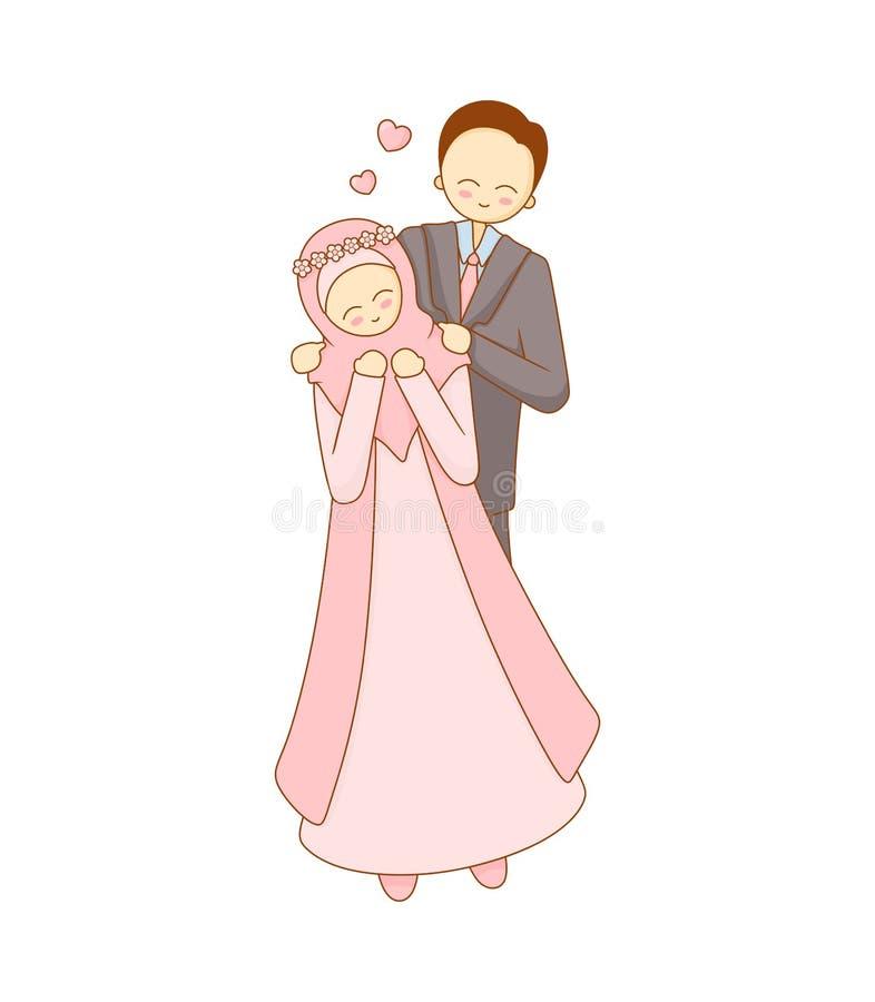 Illustration simple d'un couple musulman mignon illustration libre de droits