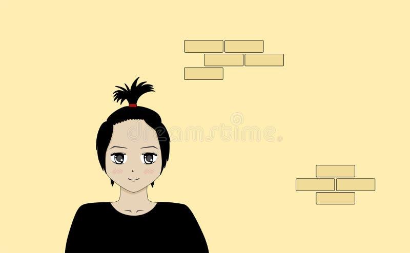 Illustration simple d'une fille mignonne d'anime illustration stock