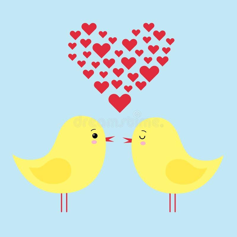 Illustration simple de carte de deux poulets drôles de bande dessinée dans l'amour illustration de vecteur