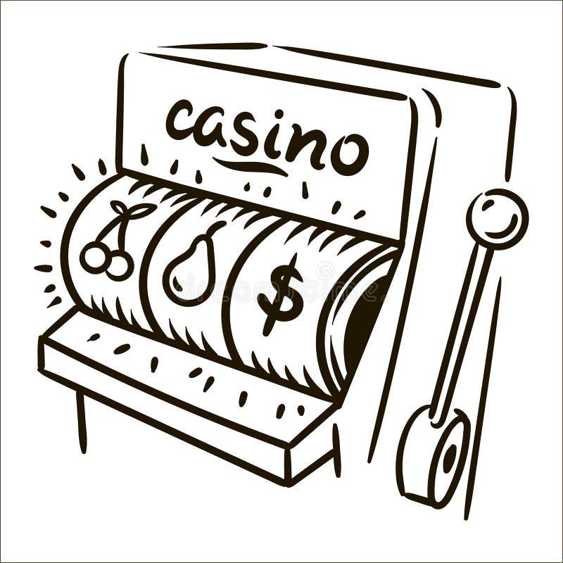 Illustration simple de croquis de casino tiré par la main de vecteur sur le fond blanc illustration de vecteur
