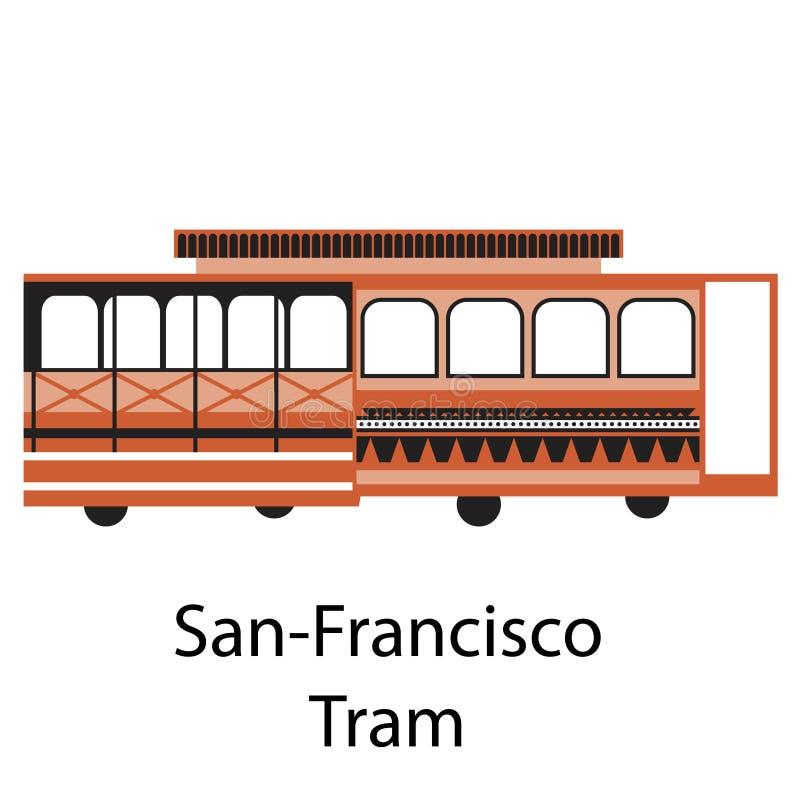 Illustration simple de tram de San Francisco sur le fond blanc illustration libre de droits